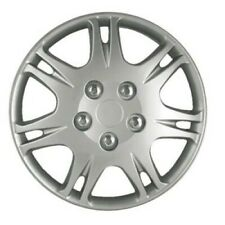 SEVEN DOUBLE SPOKE SILVER HUBCAPS --- SET OF FOUR--- 15 INCH
