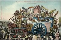 Nice France Carnaval 1909 Elaborate Parade Float Artist Drawn Postcard #6
