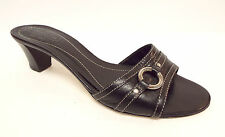COACH Size 8 GENEVIVE Black Leather Slide Sandals Heels Shoes from Italy