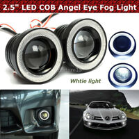 "2x 2.5"" LED COB Feux De Brouillard Lampe Projector Lens DRL Angel Eyes Kit Auto"