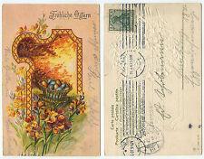 34575 - Fröhliche Ostern - Prägekarte, gelaufen Hamburg 31.4.1907