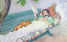Art Repro Postcard: Cozy Woman on a Bench Reading with Dog, Cat - Larsson