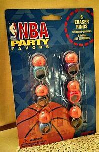NBA PARTY FAVORS NOS 6 ERASER RINGS PENTECH NO 42827 1995 BASKETBALL BALL TOY.