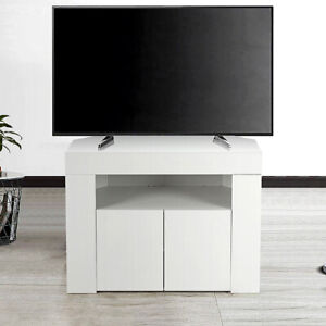 Corner TV Stand Cabinet Television Unit 2 Doors Cabinet White High Gloss UK