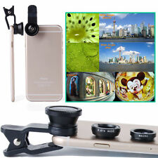 3 in1 Fish Eye+ Wide Angle + Macro Camera Clip-on Lens for Smartphone Universal