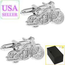 Hot Sale Men Cufflinks Silver Motorcycle Cuff Links With Gift Box