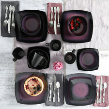 Purple Dinnerware Set Kitchen Dinner Square Plates Dishes Bowls Mugs 16 Ceramic