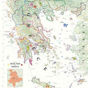 "De Long's Wine Map of Greece 24"" x 36"""