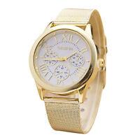 NEW Womens Classic Gold Roman Numerals Quartz Stainless Steel Wrist Watch White