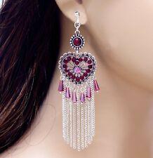 "#E122A 4"" Long CLIP ON EARRINGS Dangle Heart Chain Tassel Fringes Red Crystal"