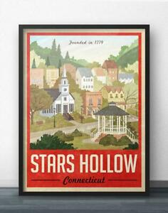 Stars Hollow Poster  Vintage Travel Poster - Inspired by Gilmore Girls (Red Ver)