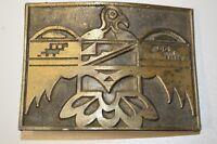 Nice Vintage 1973 Southwestern Tribal Bird BOHO Solid Brass Tone Belt Buckle HTF