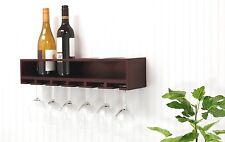 Wine Glasses & Wine Bottles Storage Wooden Wall Mounted Shelf Rack - Espresso