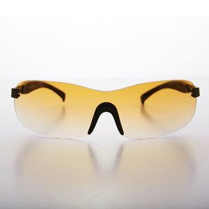 Rimless Sport Shield Vintage Sunglass with Orange Gradient Lens - Lance