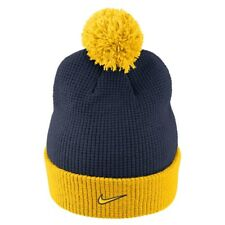 NIKE Michigan Wolverines Cuffed Knit Hat Beanie Cap with Pom - Adult