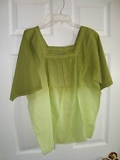 Motto Green Striped Cotton Short Sleeve Square Neck Dip Dye Blouse/Top L NEW