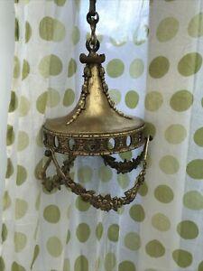 FRENCH Antique brass pendant ceiling light fixture Victorian acorn heavy