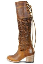 Freebird Steven Creek Womens 6 Tall Distressed Cognac Leather Cutouts Boho Boots