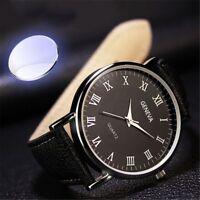Men's Watch Luxury Faux Leather Mens Quartz Analog Business Casual Wrist Watches