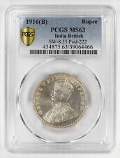 1916(B) INDIA BRITISH RUPEE PCGS CERTIFIED MS 63 MINT UNC SW-8.35 PRID-222 (466)