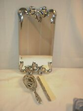 Godinger Mirror Dresser Tray 1988 Silver Plated Bows, Brush and Comb