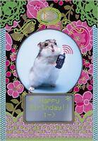 Carte de voeux joyeux anniversaire hamster sms 10 cm x7 cm birthday card