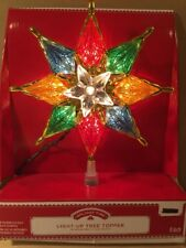 "NEW! Light - Up Christmas Tree Topper Star Multi Color 8"" Holiday Time"