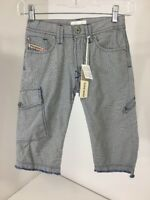 DIESEL BOYS PANTALONI STRIPED LONG SHORTS DENIM BLUE/OFF WHITE SIZE 7 NWT
