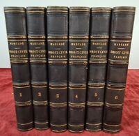 ELEMENTS DE DROIT CIVIL FRANÇAIS.V. MARCADÉ. LIB. COTILLON. 6 VOL. 1847/1855.