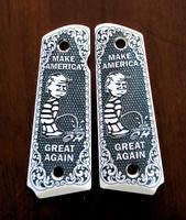 1911 full size custom engraved ivory scrimshaw grips scroll Trump MAGA