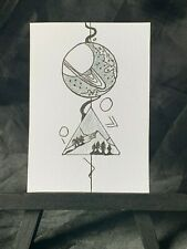 ACEO Original Unexplainable Force Medium Black Ink Marker on Paper Signed Artist