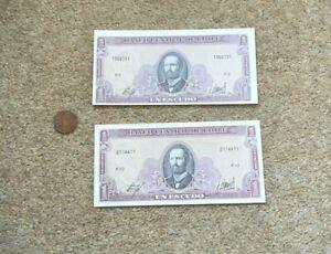 2 x Chile Un Escudo P10 + P6 Crisp slight fold & Pin Holes Banknotes