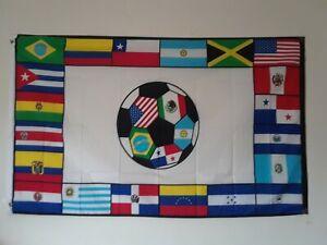 SOCCER FLAG WITH LATIN COUNTRIES - BANDERA DE FUTBOL Y PAISES LATINOS