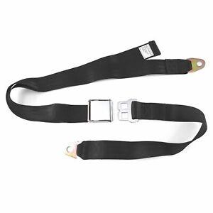 Retro 2-Point Lap Seat Belt 258-BLK-60 2 Pt Black Airplane Buckle Each