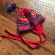 Hanna Andersson Red Blue Yellow Cotton Sweater Knit Hat Ear Flaps Tie