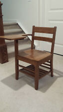Antique Wooden School Desk And Attached Chair