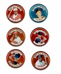 Lot of 6 Vintage Topps 1964 Baseball Trading Coins Major League All-Stars VG CON