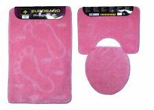 Badgarnitur 3 tlg.  Badvorleger, WC Bezug Vorleger f. Stand  WC in rosa