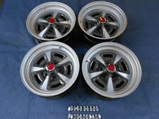 """SET 4 PONTIAC RALLY 11 15X7"""" WIDE NICE REPRO WHEELS  NEW RINGS & RED CAPS JUDGE"""