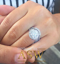 14k White Solid Gold Round Cut Moissanite Diamond Engagement halo Ring 3.00ctw