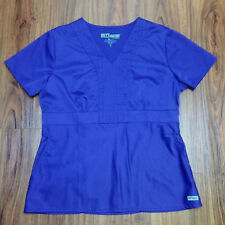 Greys Anatomy By Barco Womens Short Sleeve Scrub Top Purple Med Angled Pockets