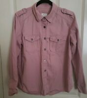 Forever 21 Women's Button Front Long Sleeve Cotton Front Pockets Pink Shirt Sz M