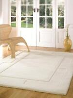 Thick 3D  Apollo Ivory Cream Wool Rug in various sizes