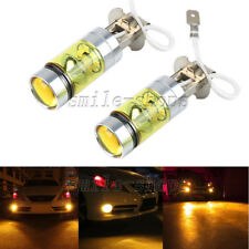 2pcs H3 3000K Amber 100W High Power Cree LED Fog Light Driving Light Bulbs DRL