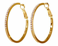 """Swarovski Elements Crystal 1 1/2"""" Fine Hoop Earrings Gold Plated Authentic 7218v"""