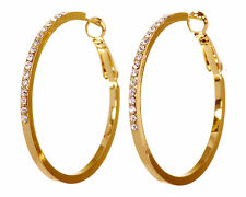 "Swarovski Elements Crystal 1 1/2 "" Fine Hoop Pierced Earrings Gold Plated 7218y"