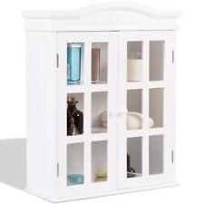 White Storage Cabinet Wall Mount Bathroom Bath Organizer Medicine Shelf Laundry