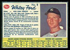 1962 POST CANADIAN BASEBALL #9 WHITEY FORD EX-NM N Y NEW YORK YANKEES CARD