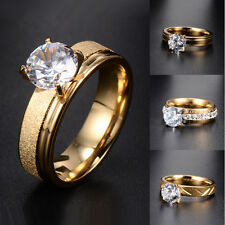 New Fashion Womens Clear CZ 24k Gold Filled Engagement Ring Size 6 7 8 9 10 Lot