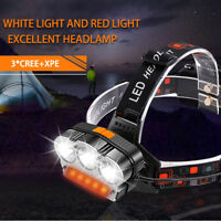 7 Modes 3* XML-T6+COB LED HeadTorch LED USB Rechargeable HeadLamp Headlight Camp